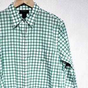 Lauren Ralph Lauren White Green Checkered Button